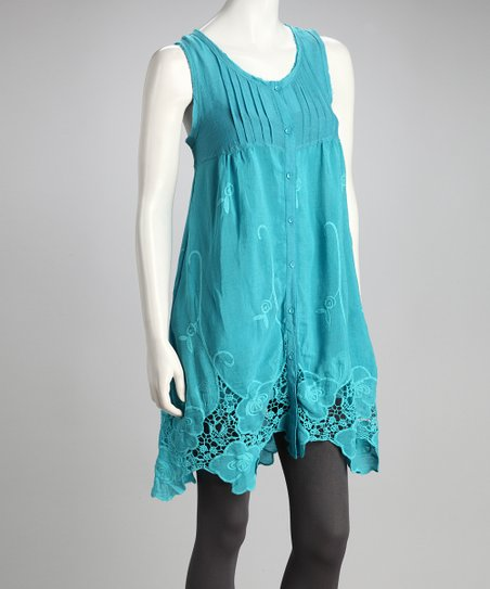 Turquoise Crocheted Sleeveless Dress