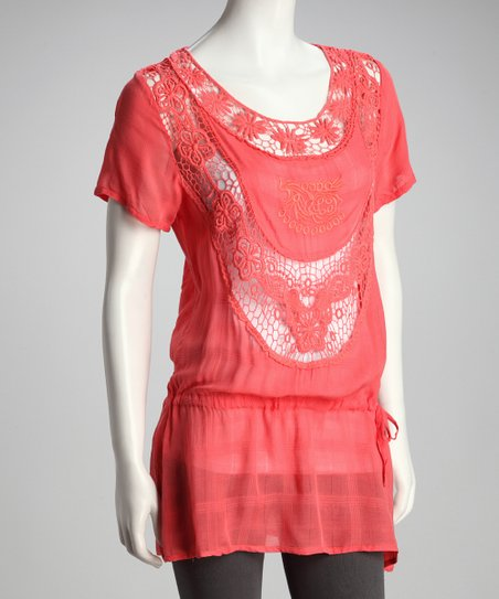 Coral Crocheted Drop-Waist Tunic