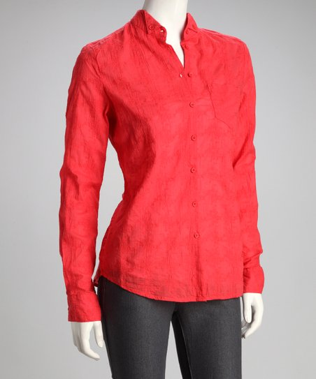 Coral Button-Up Top