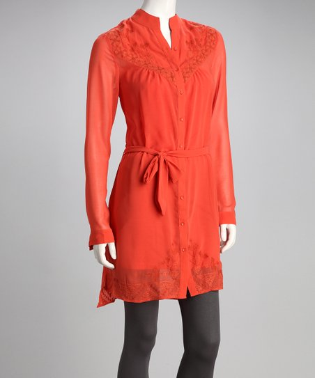 Coral Sash-Tie Button-Up Tunic