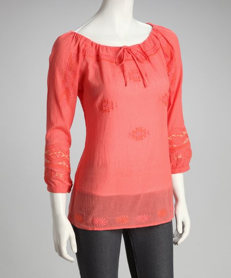 Salmon Peasant Top