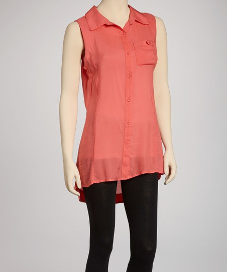 Salmon Sleeveless Button-Up Top
