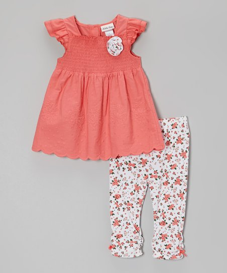 Pink Floral Smocked Tunic & Leggings - Infant