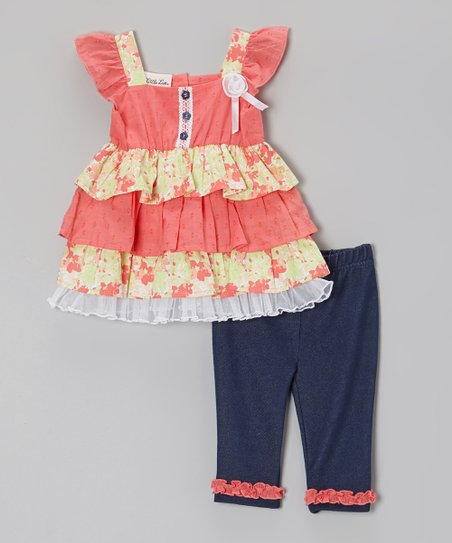 Pink & Yellow Ruffle Tunic & Jeggings - Infant