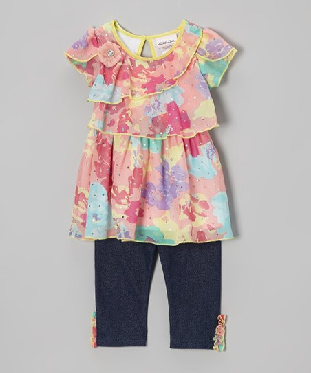 Pink & Yellow Sequin Tunic & Jeggings - Infant