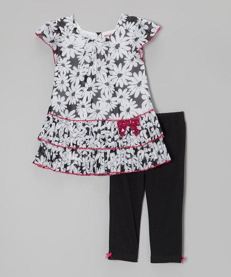 Black & White Floral Tunic & Leggings - Infant, Toddler & Girls