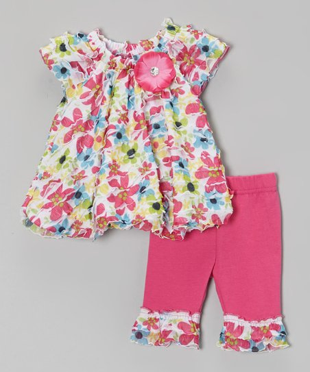 Pink Floral Ruffle Tunic & Leggings - Infant, Toddler & Girls