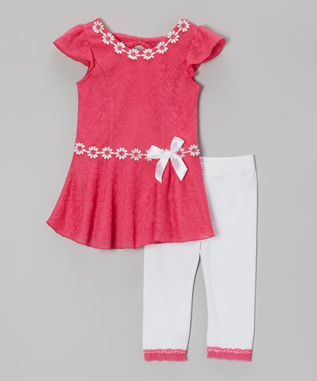Pink & White Ruffle Tunic & Leggings - Infant, Toddler & Girls