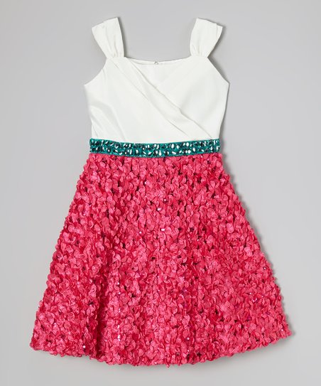 White & Fuchsia Petal Dress - Girls
