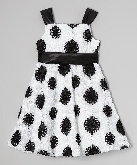 White & Black Floral Soutache Dress - Girls