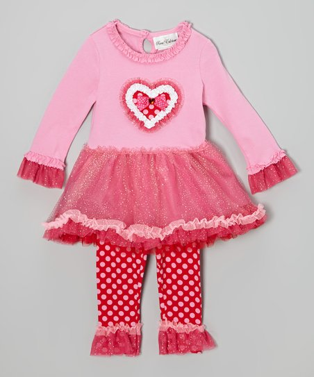 Pink & Fuchsia Heart Dress & Leggings - Infant, Toddler & Girls