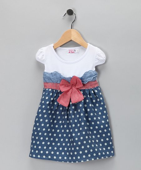 White Denim Polka Dot Dress - Toddler & Girls