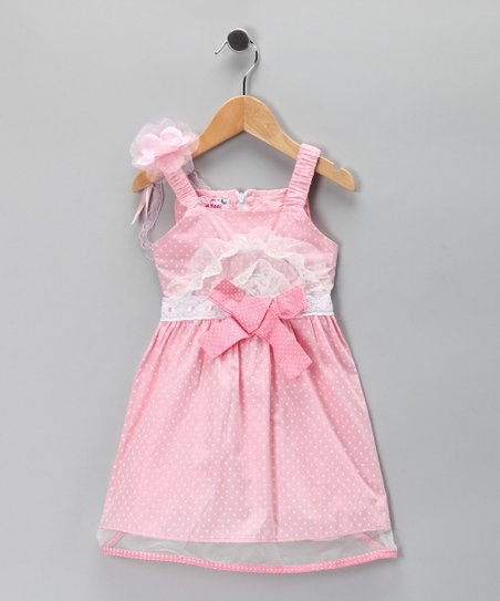 Dark Pink Polka Dot Bib Dress - Toddler & Girls