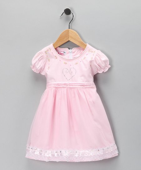 Pink Floral Embroidered Dress - Toddler & Girls