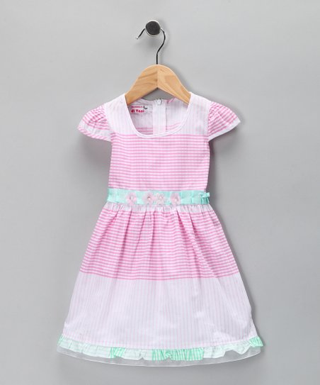 Pink & Blue Tiered Stripe Dress - Toddler