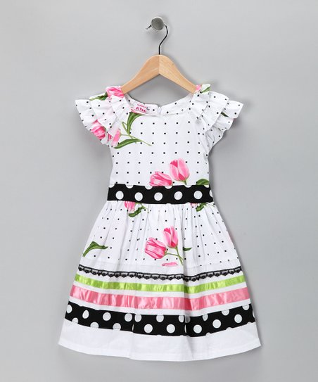 Di Vani White & Black Polka Dot Tulip Dress