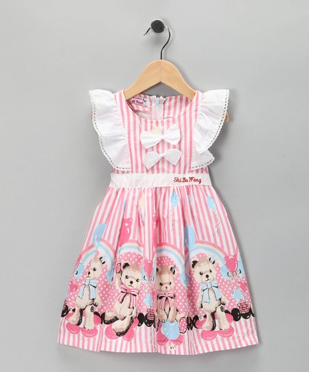 Di Vani Pink Stripe Bear Bow Dress - Toddler & Girls