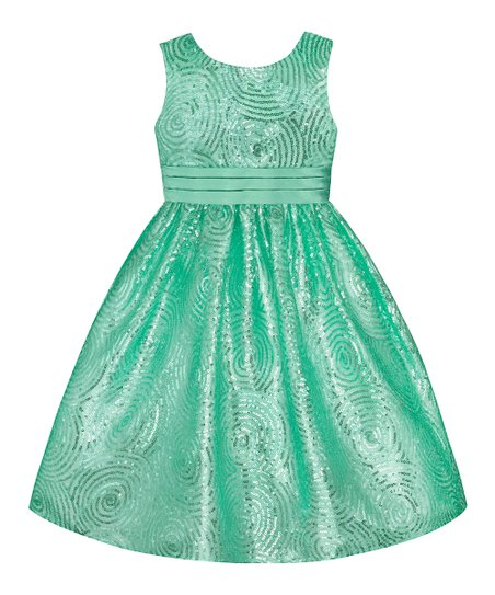 Spring Green Sequin Swirl Dress - Girls