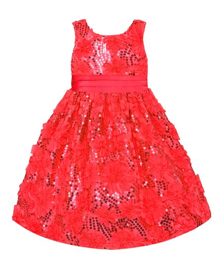 Coral Sequin Floral Dress - Toddler, Girls & Girls