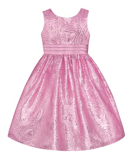 Ice Pink Sequin Swirl Dress - Toddler & Girls