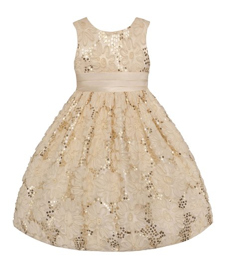 Ivory Sequin Flower Dress - Infant