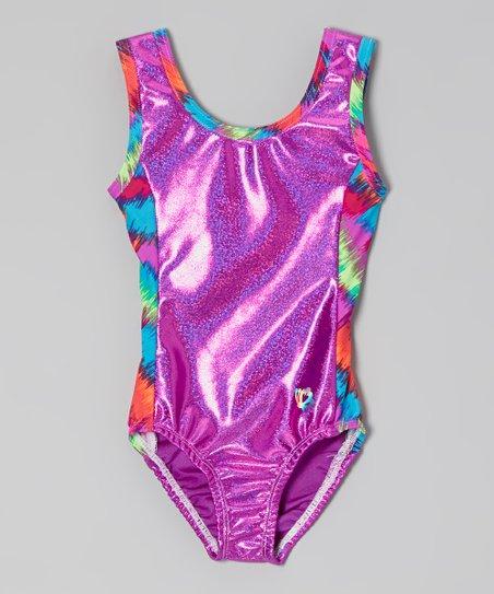 Violet Foil Splash Leotard - Girls