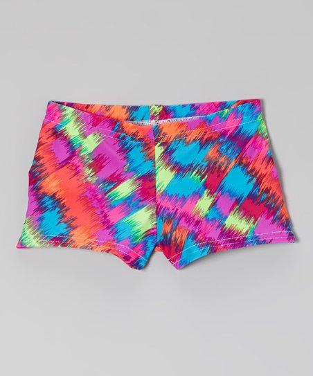 Turquoise Splash Shorts - Girls