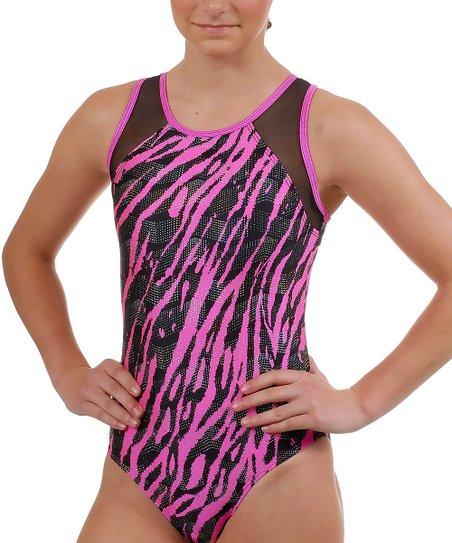 Hot Pink Zebra Zag Kiera Leotard - Girls