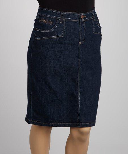 Blue Wide-Stitch Denim Skirt – Plus