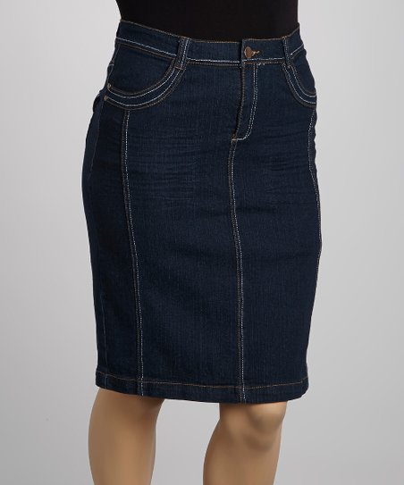 Dark Blue Wide-Stitch Denim Skirt - Plus
