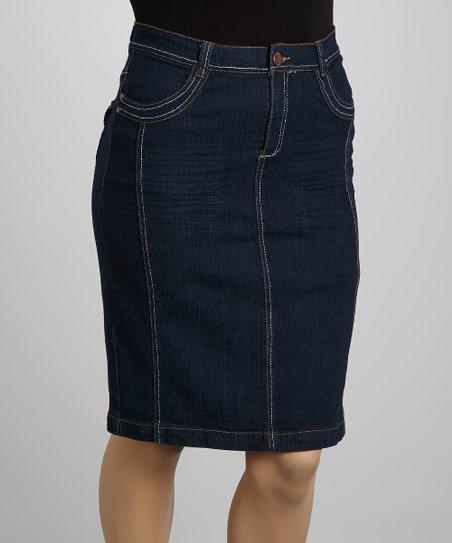 Dark Blue Wide-Stitch Denim Skirt – Plus