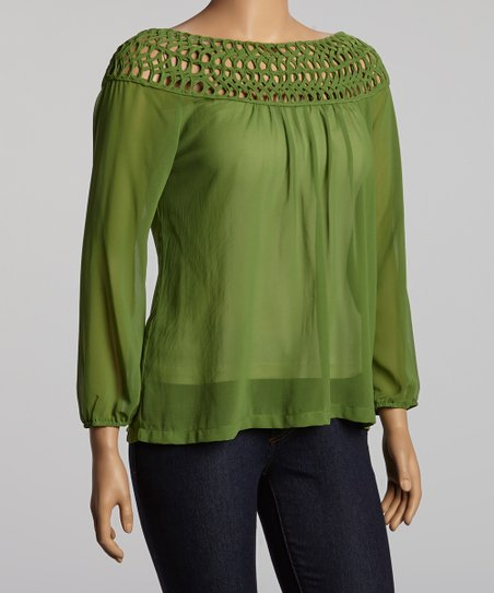 Avocado Three-Quarter Sleeve Top - Plus