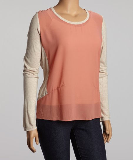 Salmon Two-Tone Dolman Top - Plus