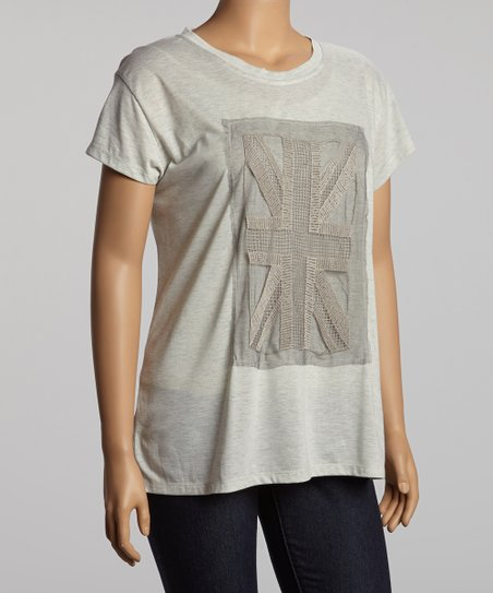 Heather Gray Flag Top - Plus