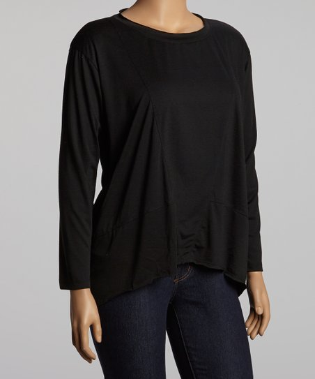 Black Drop Shoulder Top - Plus