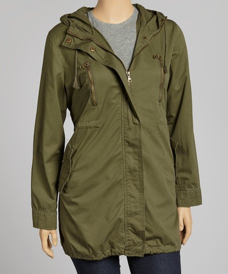Olive Hooded Military Jacket - Plus