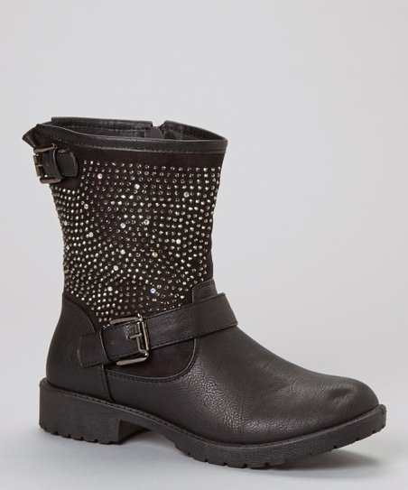 Black Martina Rhinestone Boot