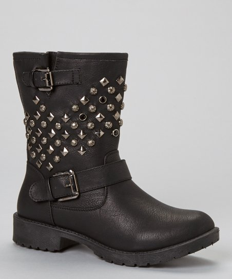 Black Martina Studded Buckle Boot