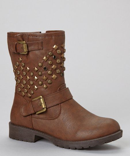 Brown Martina Studded Buckle Boot