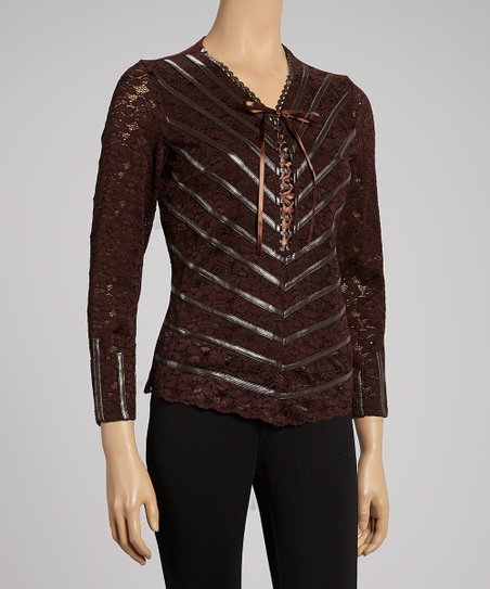 Brown Lace Stripe V-Neck Top