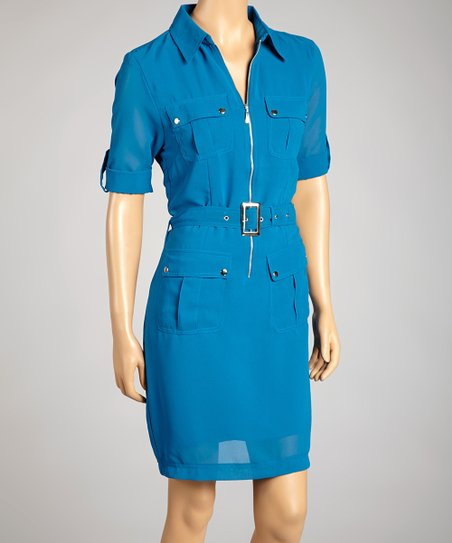 Blue Zip-Up Dress