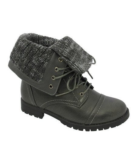 Gray Mary Fold-Over Boot