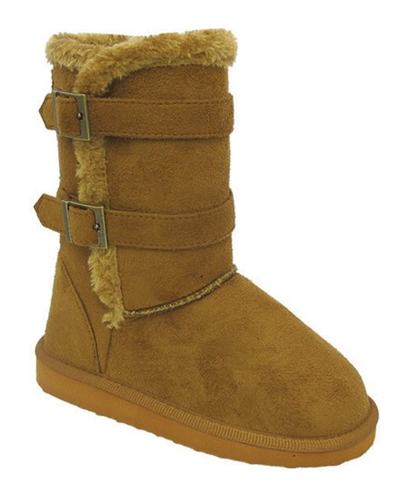 Rust Double-Buckle Faux Fur Gaia Boot