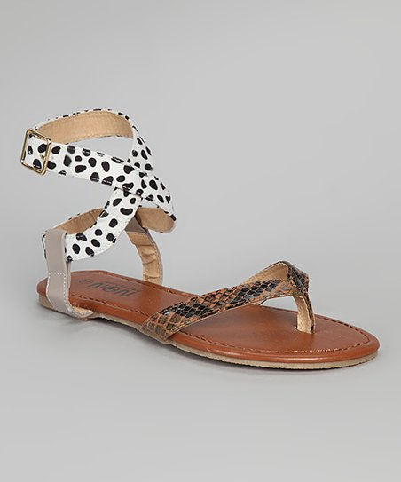 Brown & Beige Ankle Wrap Sandal