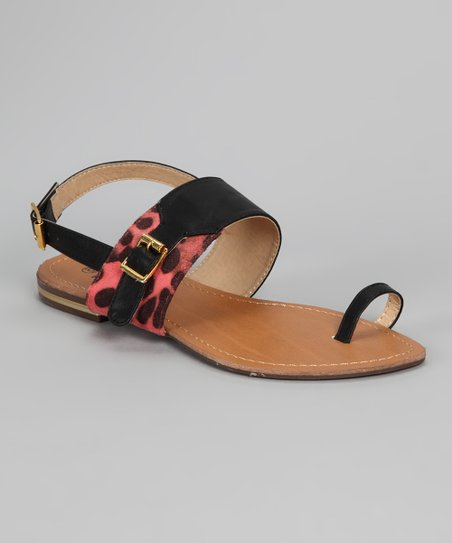 Black & Red Spot Sandal