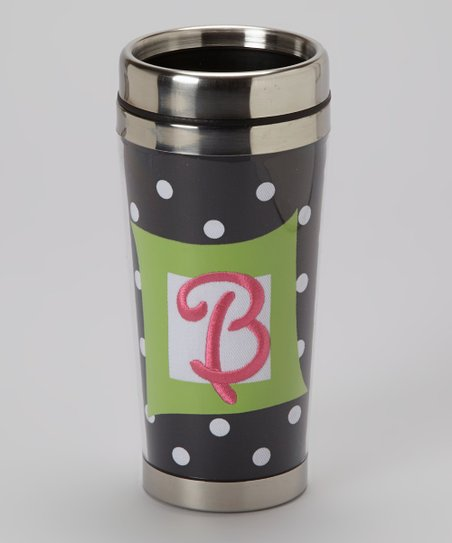 Navy Polka Dot & Pink 'B' Travel Tumbler