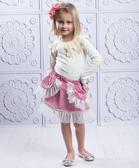 Crème Flower Top & Dusty Rose Ruffle Skirt - Toddler & Girls