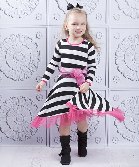 Black & White Stripe Twirl Dress - Toddler