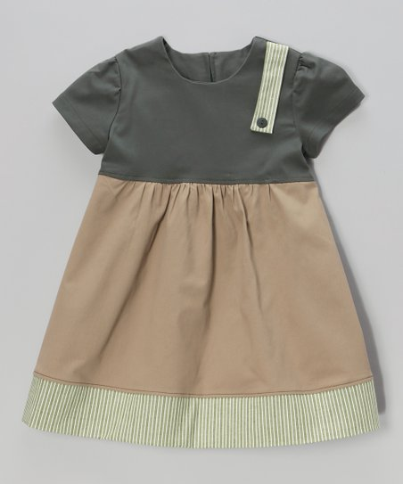 Green & Tan Stripe Dress - Toddler & Girls
