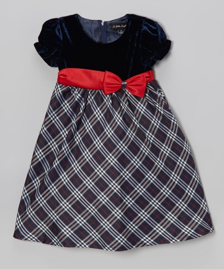 Navy & Red Plaid Puff-Sleeve Dress - Infant, Toddler & Girls